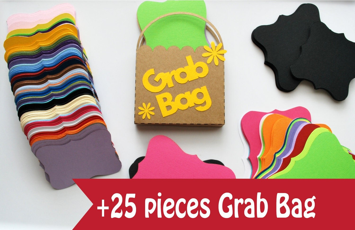 ON SALE Bracket Card Die cut Grab Bag, Cardstock Die Cut Pack Grab Bag, Assorted Scrapbooking Shapes, Colors & Sizes A229