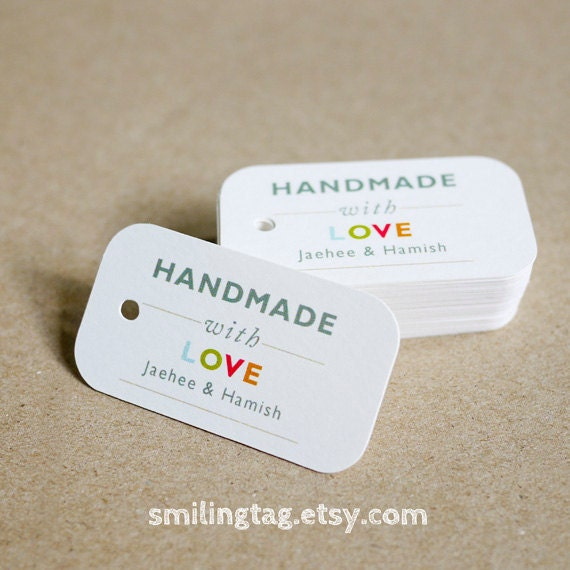 Handmade With Love Tags Personalized Gift Tags Handmade
