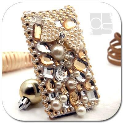 Apple iPhone 4 S 4S 4G 4GS Generation 4th Gen BLING Skin Case: Rhinestone Gold Crystals Diamond Gems Custom Made Hard Back Case Cover