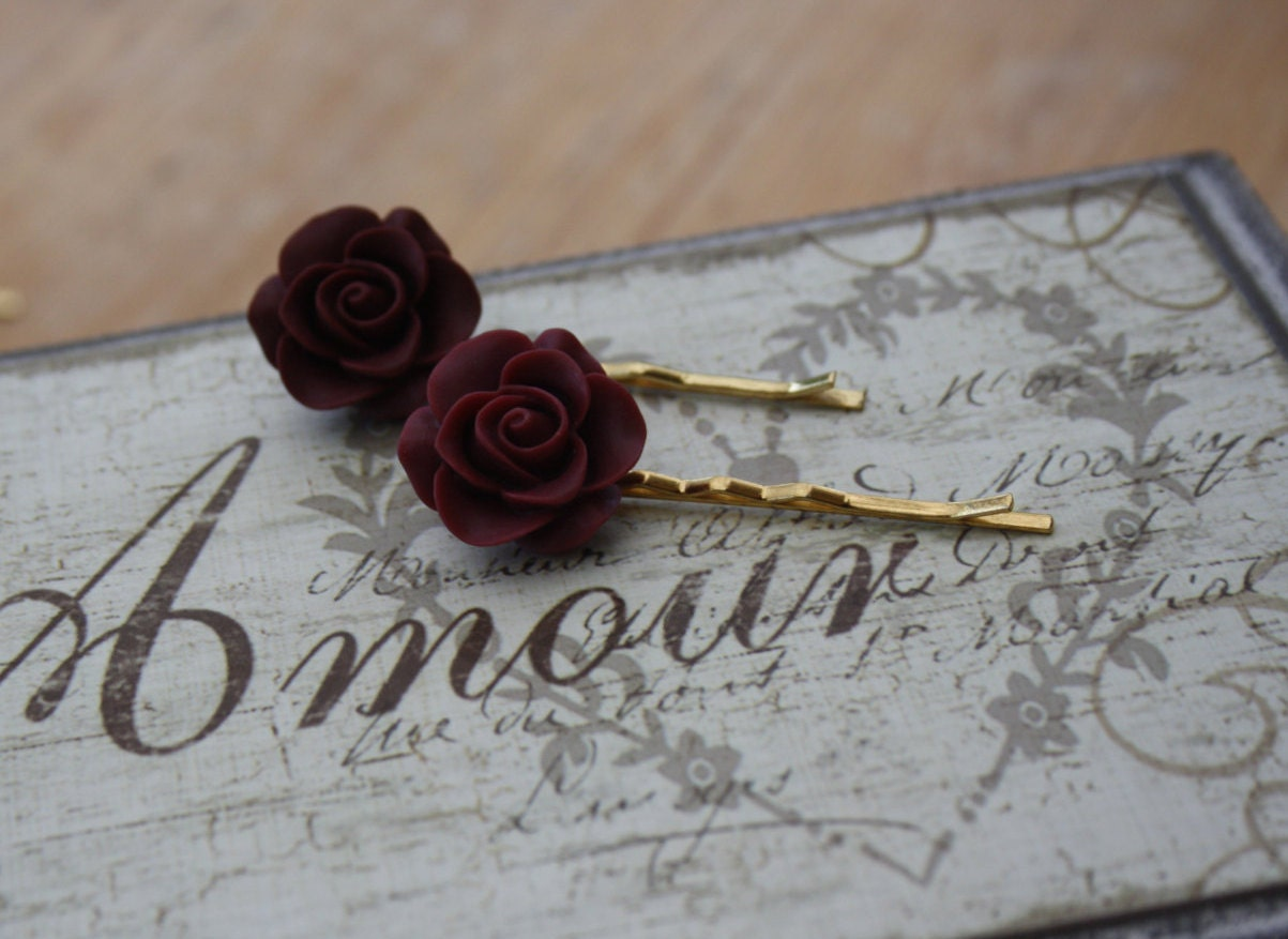 Burgundy Hair Grip PairBurgundy Flower Hair GripFlower Hair AccessoriesBurgundyBridesmaid AccessoriesCute GripsResin Rose FloralBell