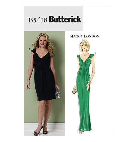 Butterick Dress Pattern B5418 - Misses' Dress in 2 Variations - MAGGY LONDON - SZ 6/8/10/12