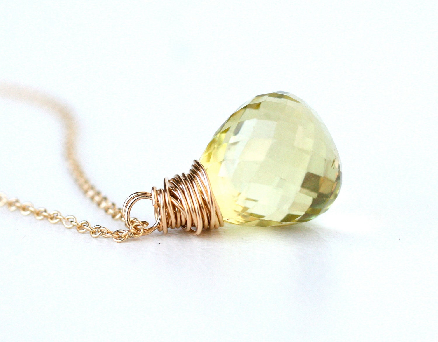 Topaz Necklace on Aaa Lemon Topaz Necklace 14k Gold Filled   Simple  Everyday Wear  Gift
