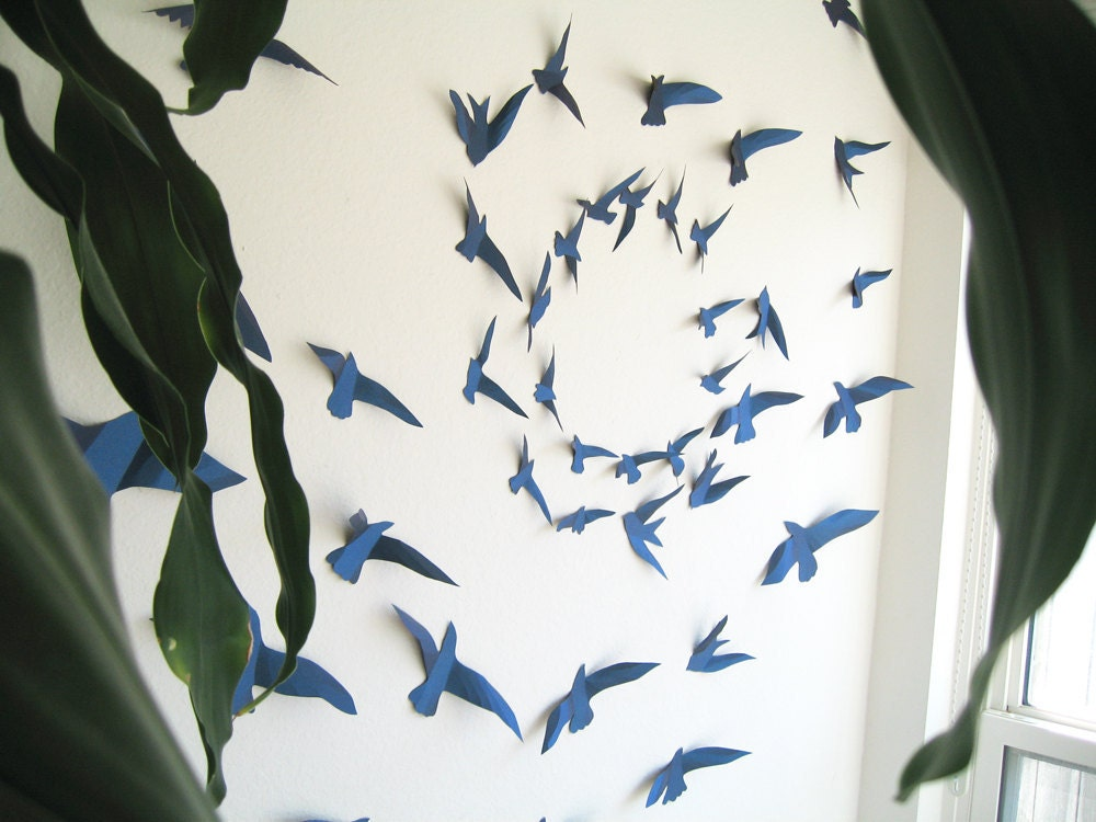 3d Wall Decor Birds : Items similar to d metallic navy blue paper birds