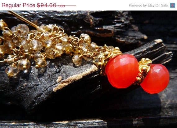 50 OFF SALE citrine chalcedony earrings by Beijo Flor by BeijoFlor from etsy.com
