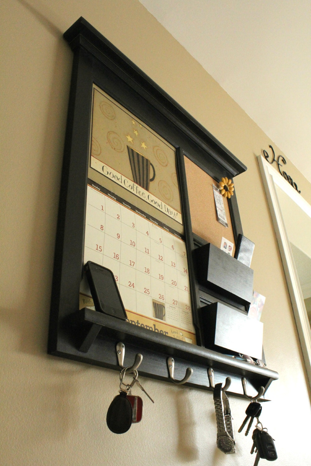 Framed furniture front loading double pocket 2014 by rozemake for Wall mail organizer with cork board