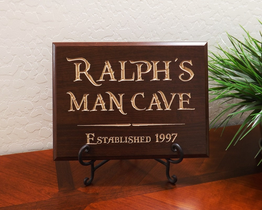 Personalized Man Cave Signs Free Shipping : Decorative carved wood sign personalized name by