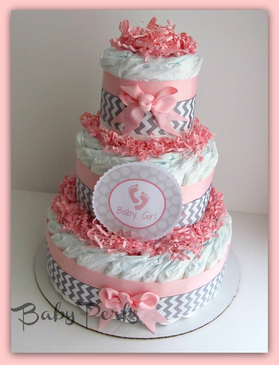 pink and grey baby shower baby shower diaper cake pink and chevron