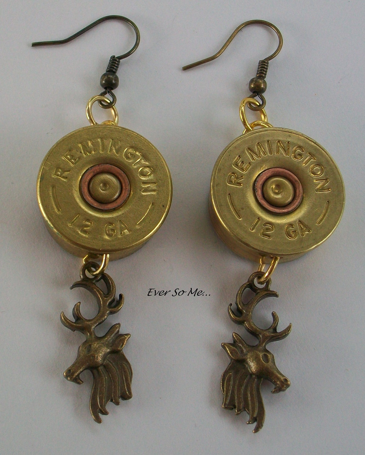 items similar to shotgun shell earrings with buck charms