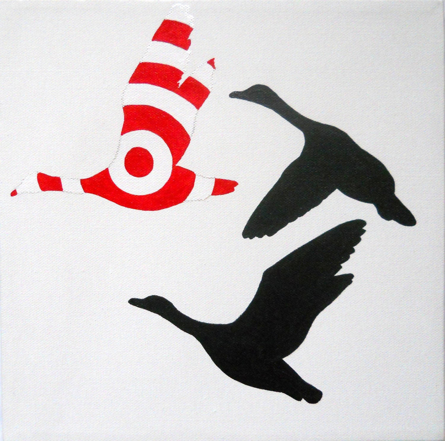 Ducks Silhouette 10x10 medium original painting - MADE TO ORDER - PreciousBeast