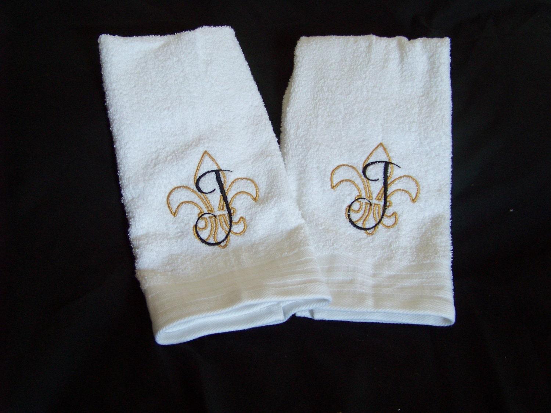 Fleur de lis monogrammed hand towel set by graciematthewskids - Fleur de lis bath towels ...