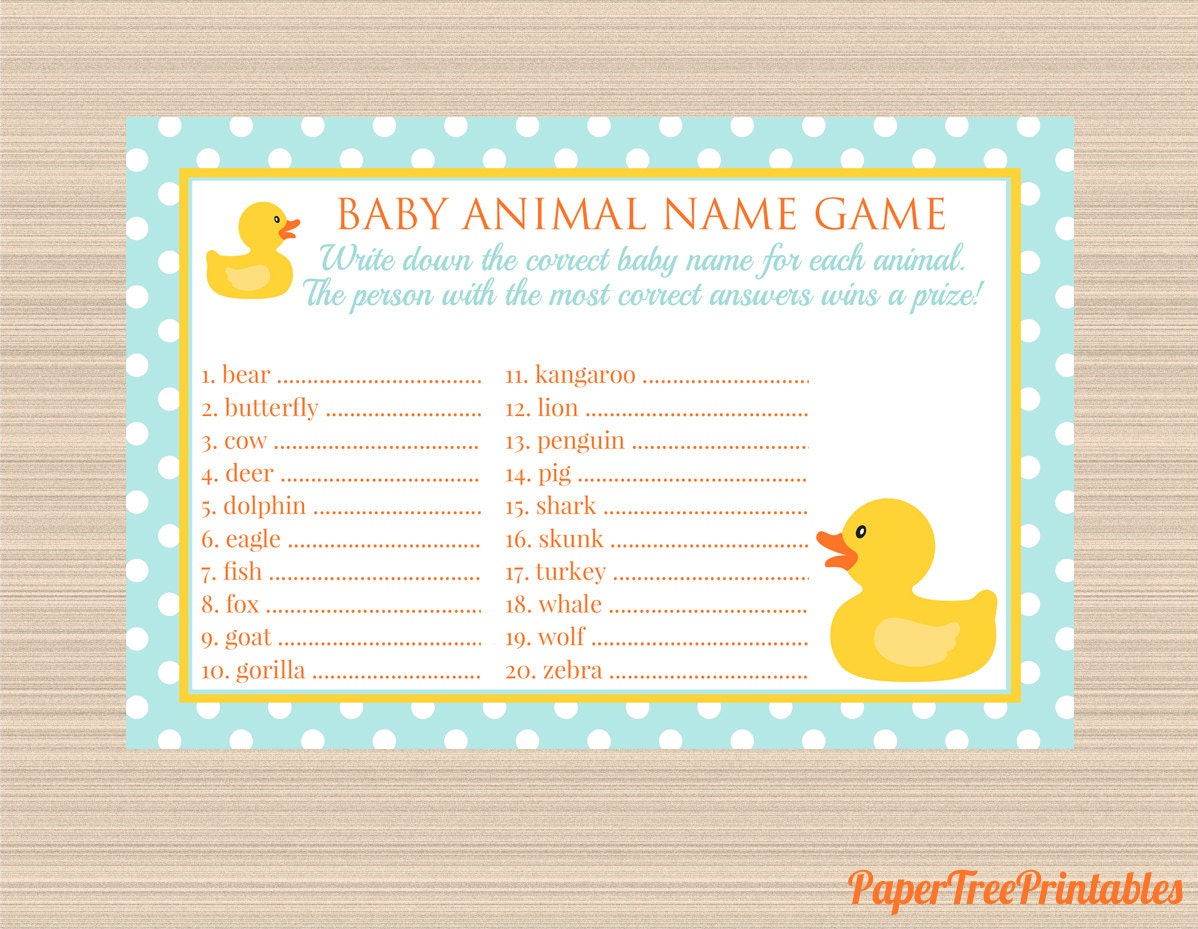 Digital baby animal name game rubber ducky baby shower