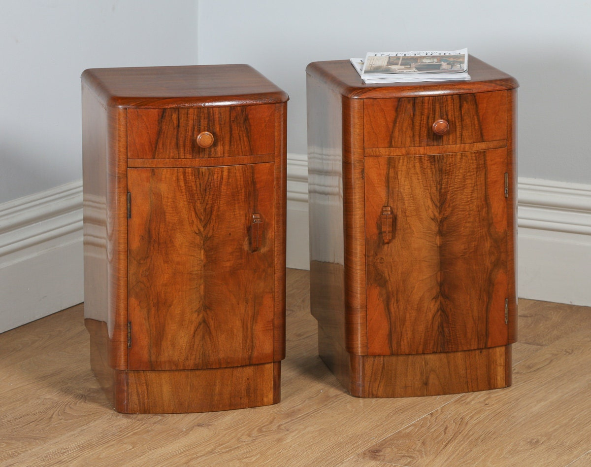 Antique Pair of English Art Deco Figured Walnut Bedside Pot Cupboards Night Stands Chests Cabinets (Circa 1930)