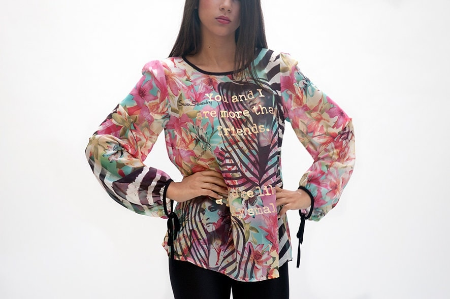 Women top, colorful top, pink turquoise ,safari style , zebra print , flower print - sevenseventyfashion