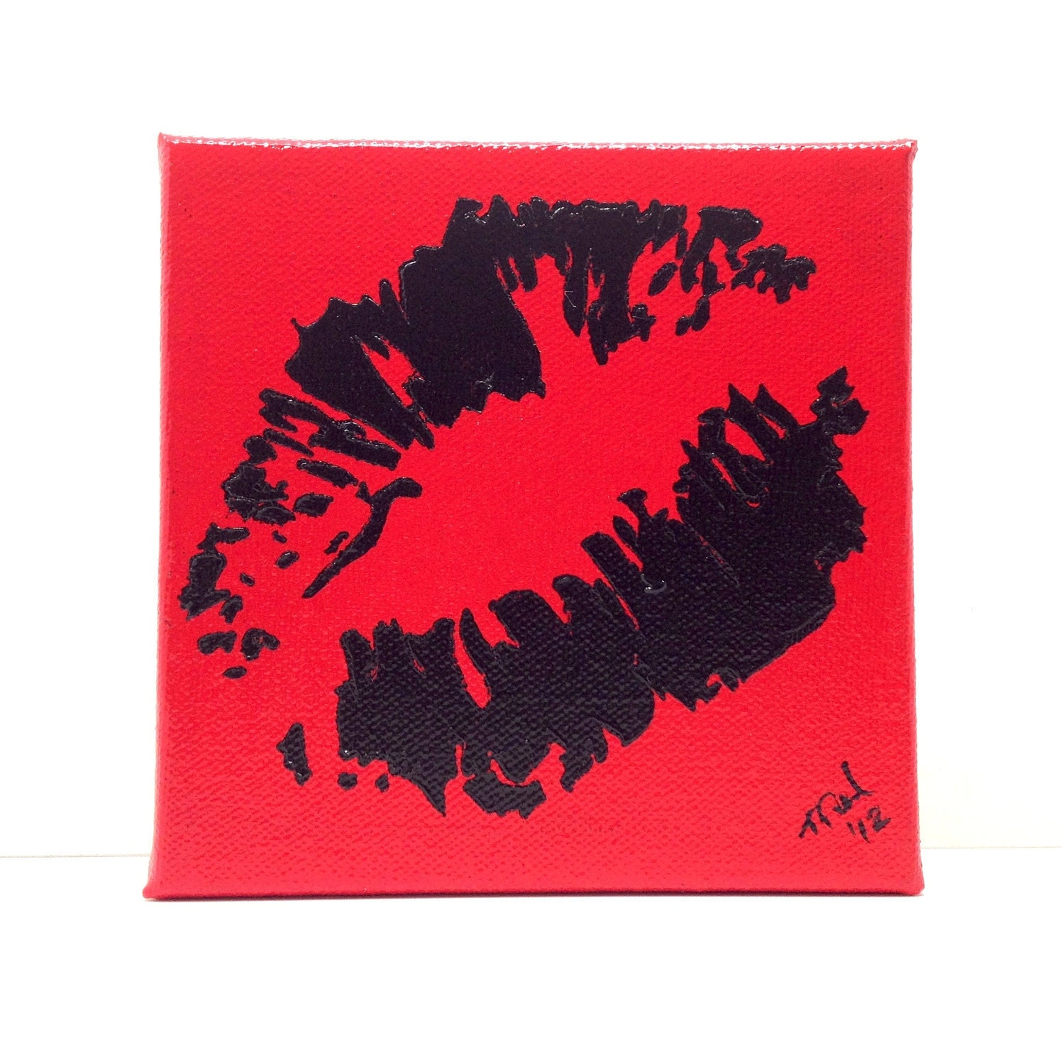 Pop Art, Graffiti Kiss, Lips, Black on Red Painting