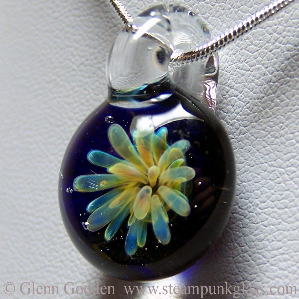 Sea Anemone 3D Flower Over Dark Blue  Handmade Glass Lampwork Pendant SRA