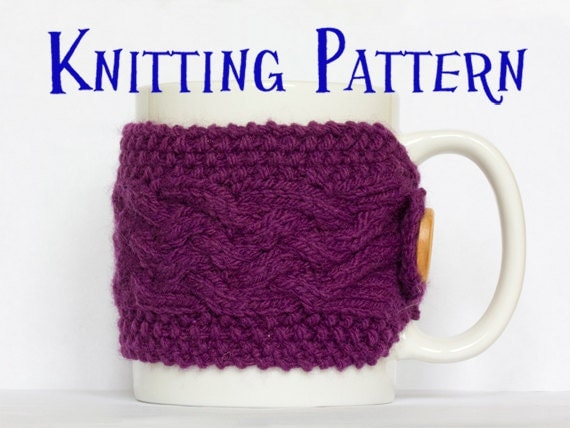 Instant Download PDF Knitting Pattern Cabled Cup by SCHandmade