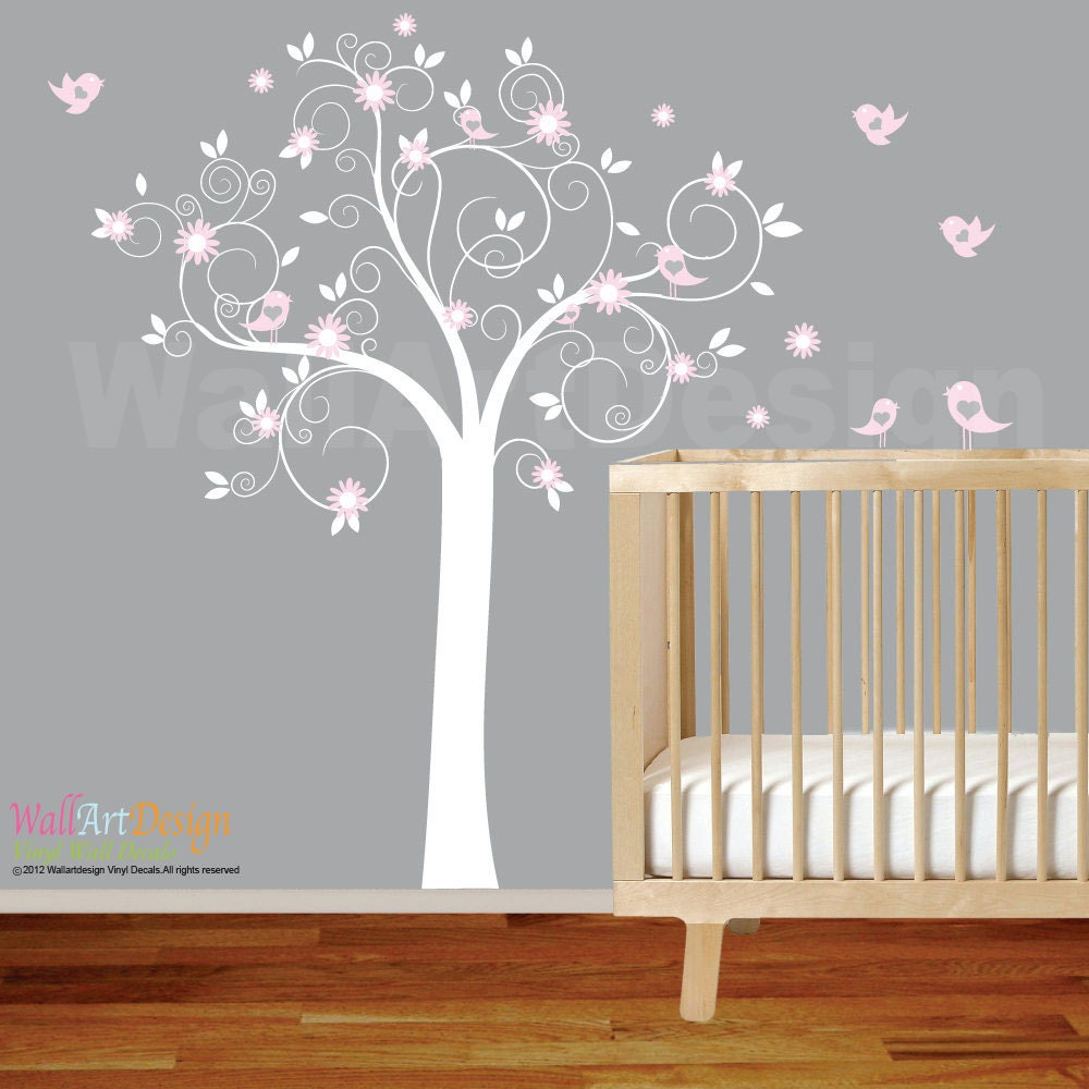 White Swirl Tree with Pink Flowers Birds Nursery Vinyl Wall Decal ...