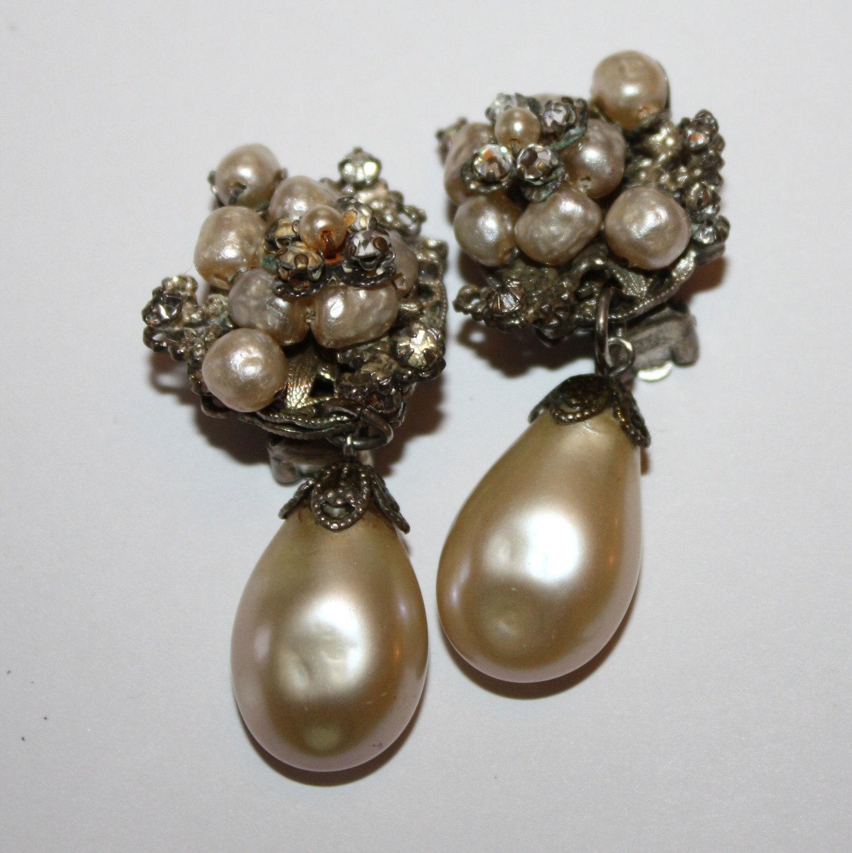 vintage earrings pearl rhinestone cluster 1950s by patwatty