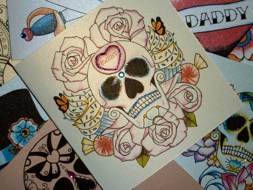 Sweet Candy Cupcake and Rose Sugar Skull by ...