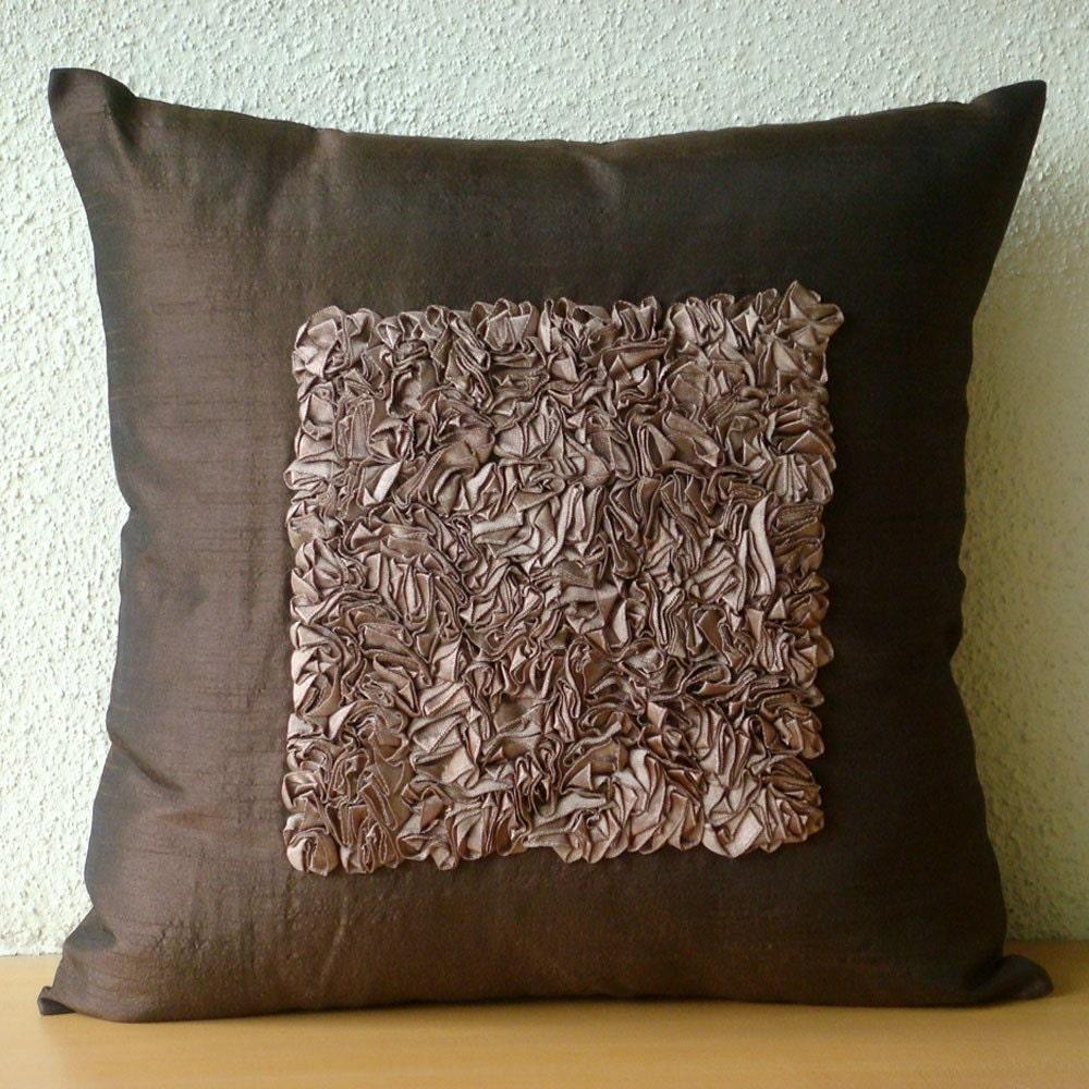 Decorative throw pillow covers 16x16 brown silk ribbon - Throw pillows for brown sofa ...