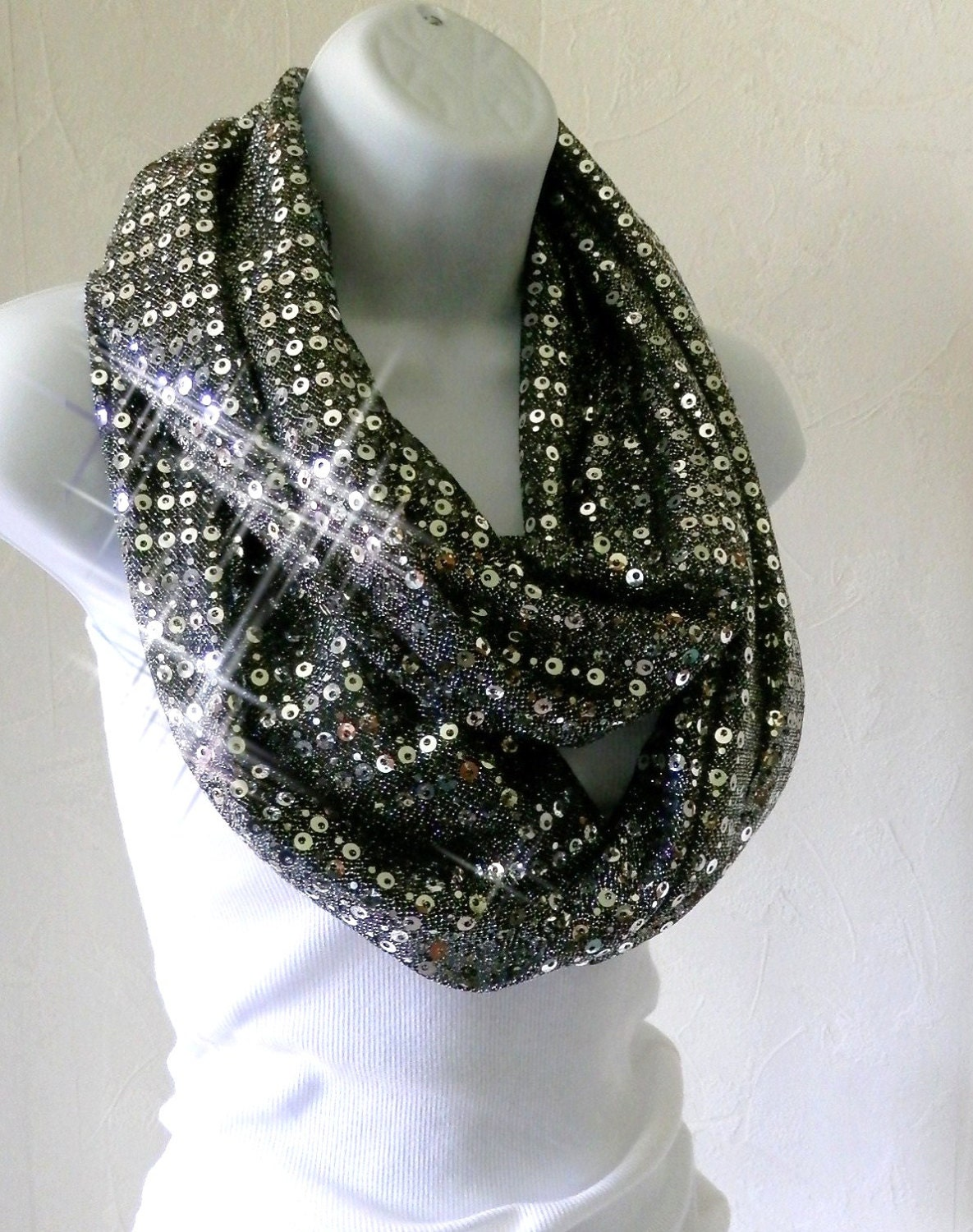 infinity scarf black and silver by