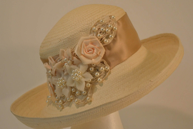 Handmade Kentucky Derby Hat with satin Champagne colored ribbon Garden Party HatWedding Hat Wide brim Hat Sun Hat Summer Hat Straw Hat $75.00 AT vintagedancer.com
