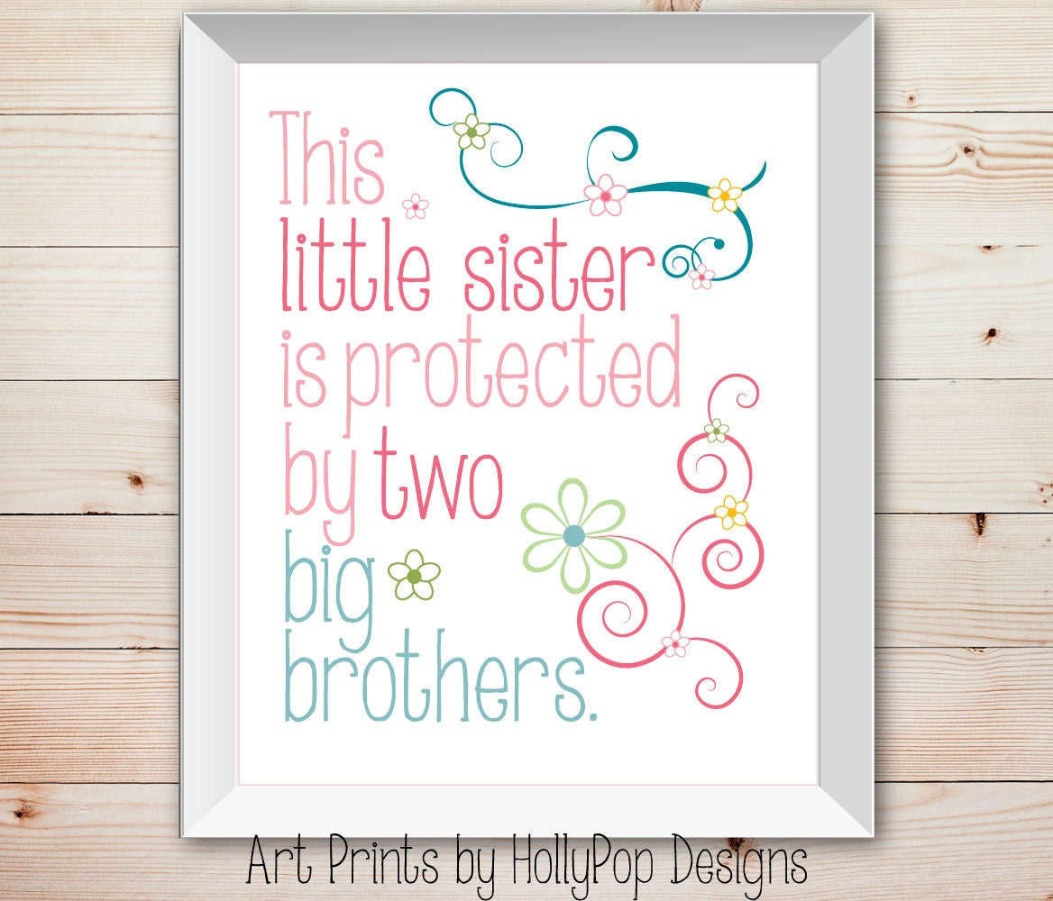 Wall Art Quotes For Sisters : Nursery wall decor baby girl little sister big by