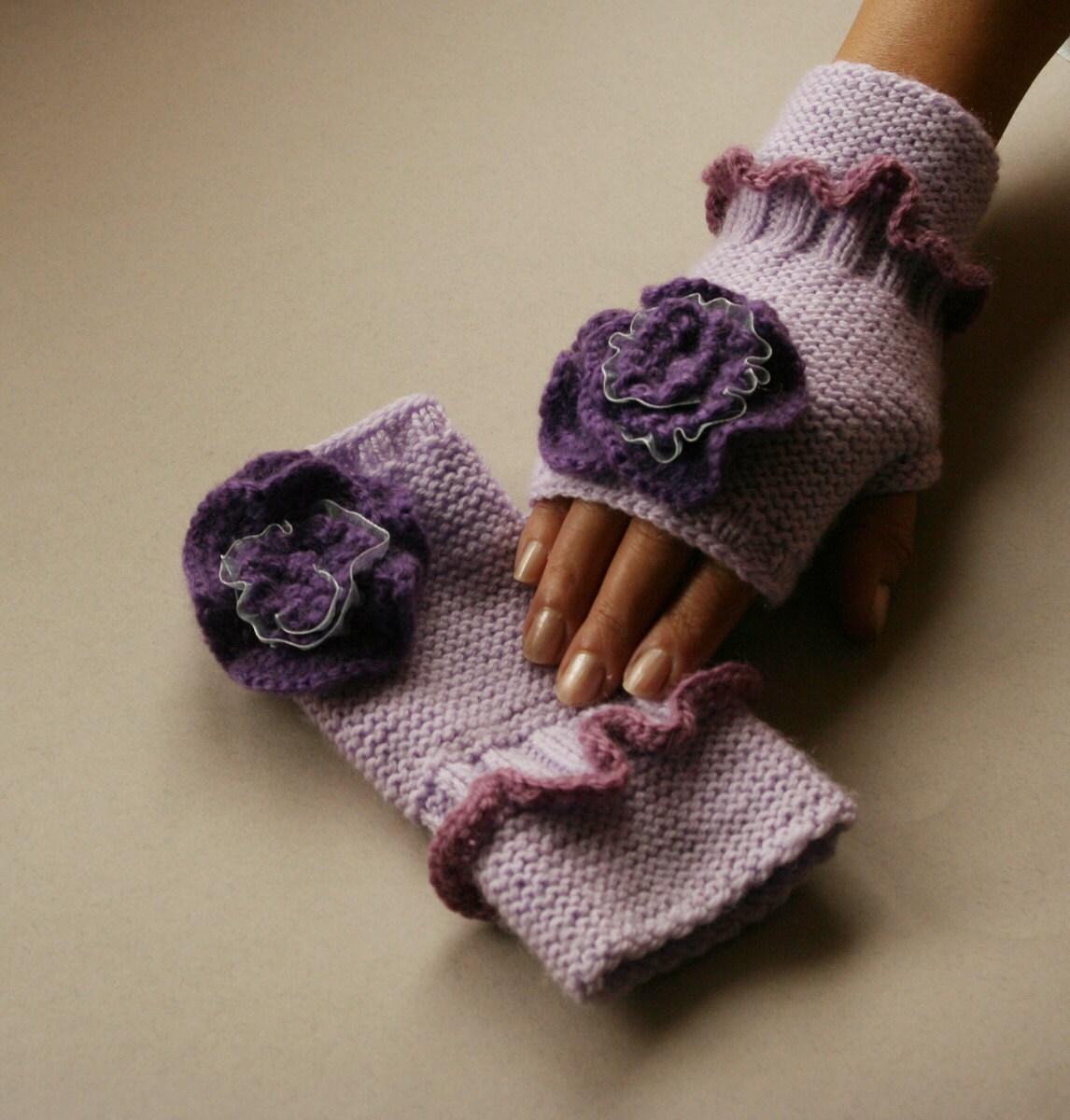 دست Fingerless کشباف دستکش ، گل ، مد یاس بنفش ، زمستان