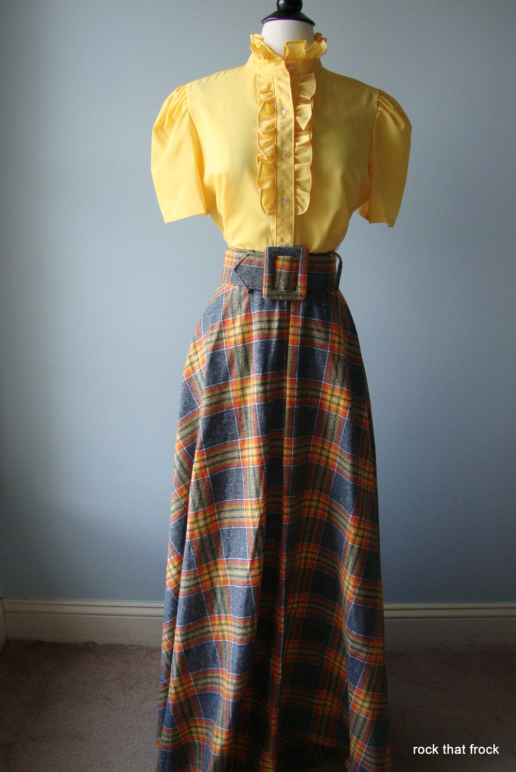70s dead stock maxi plaid skirt by rockthatfrock on etsy