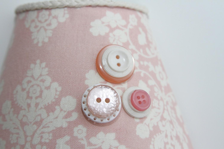 NIGHT LIGHT-Pink & Cream, Shabby Chic, Vintage Buttons, Nursery, Home Decor, Baby Girl - TarasElegantDecor