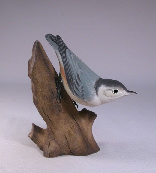 White-breasted Nuthatch Hand Carved Wooden Bird - jjstudio