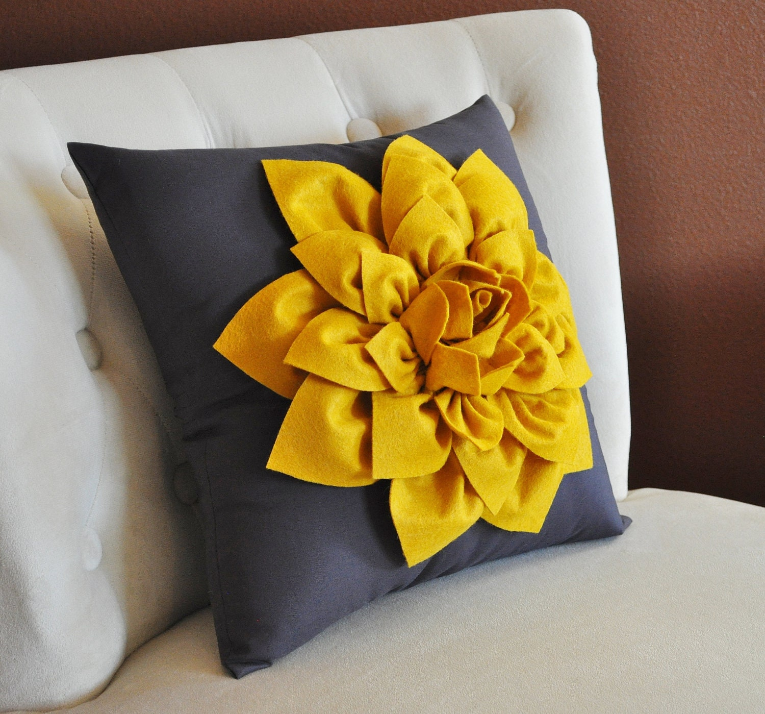 Decorative Flower Pillow Mustard Yellow Dahlia on by bedbuggs