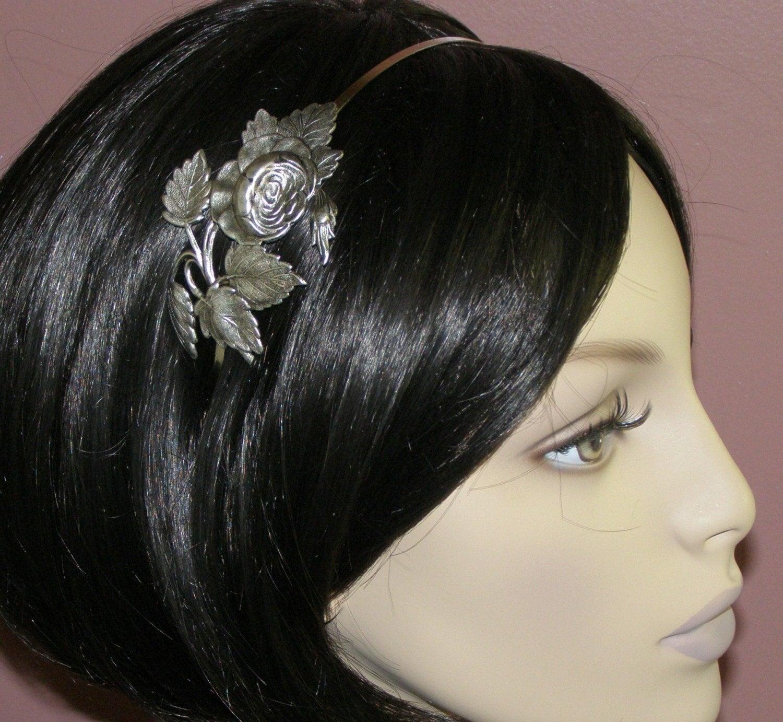 Rose headband vintage style silver finish