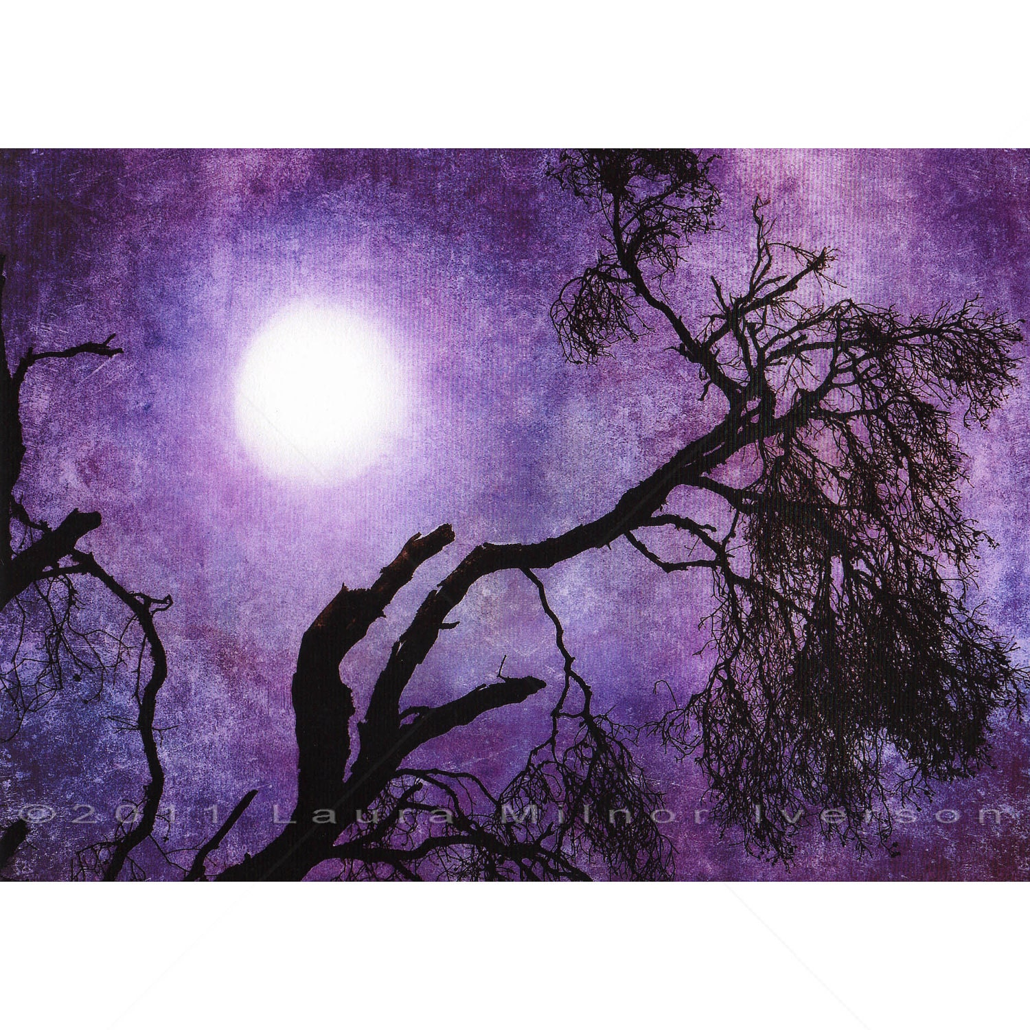 Oak Tree Branch Purple Moon Halloween Grunge Dark Art Print