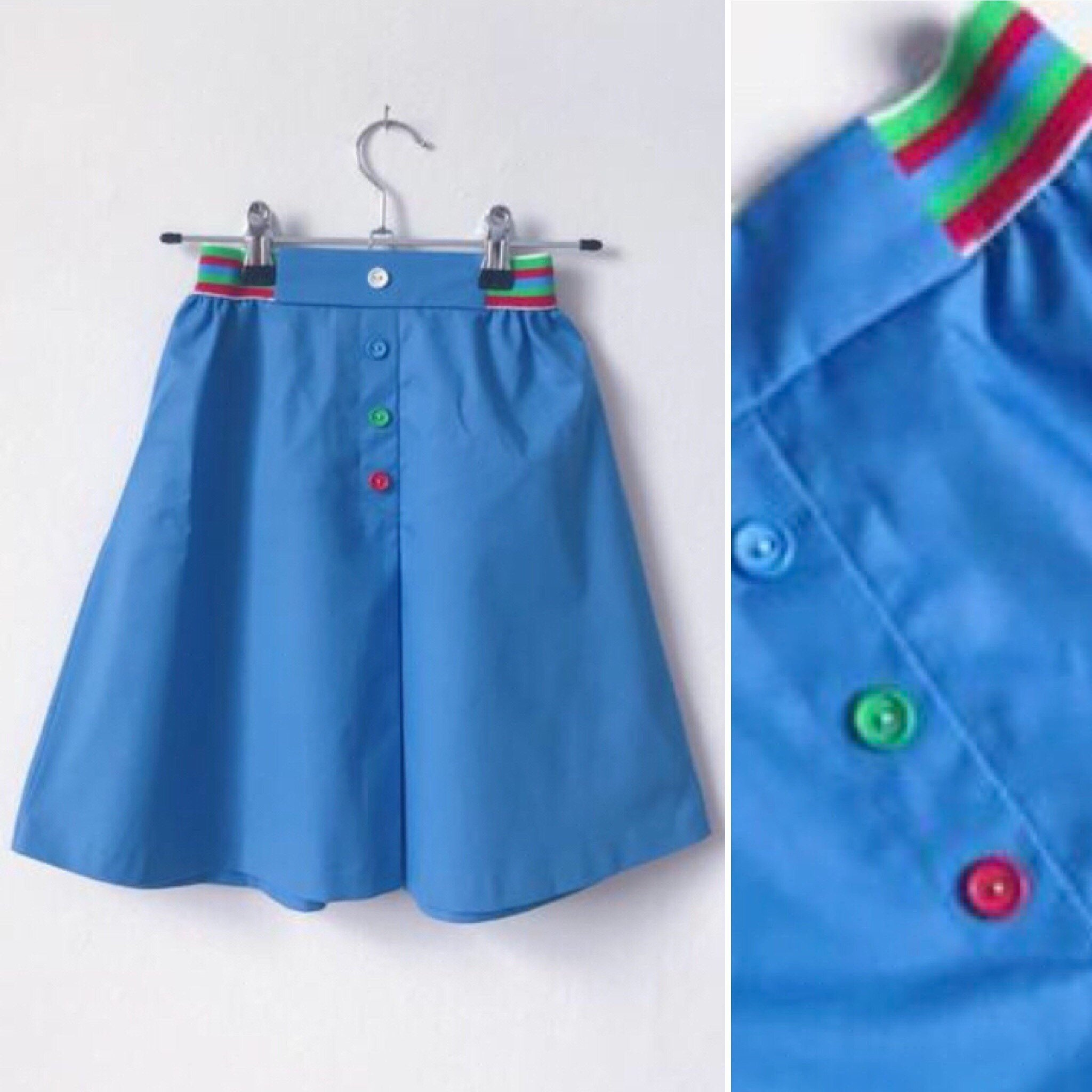 1970s vintage Mothercare girls skirt, blue with rainbow elsstic waist buttons, vintage childrens clothing approx age 8 years age 9 years