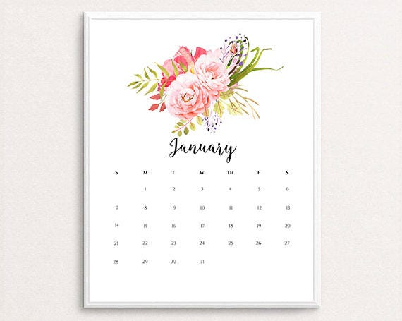 January 2018 Calendar Floral | | 2018 january calendar