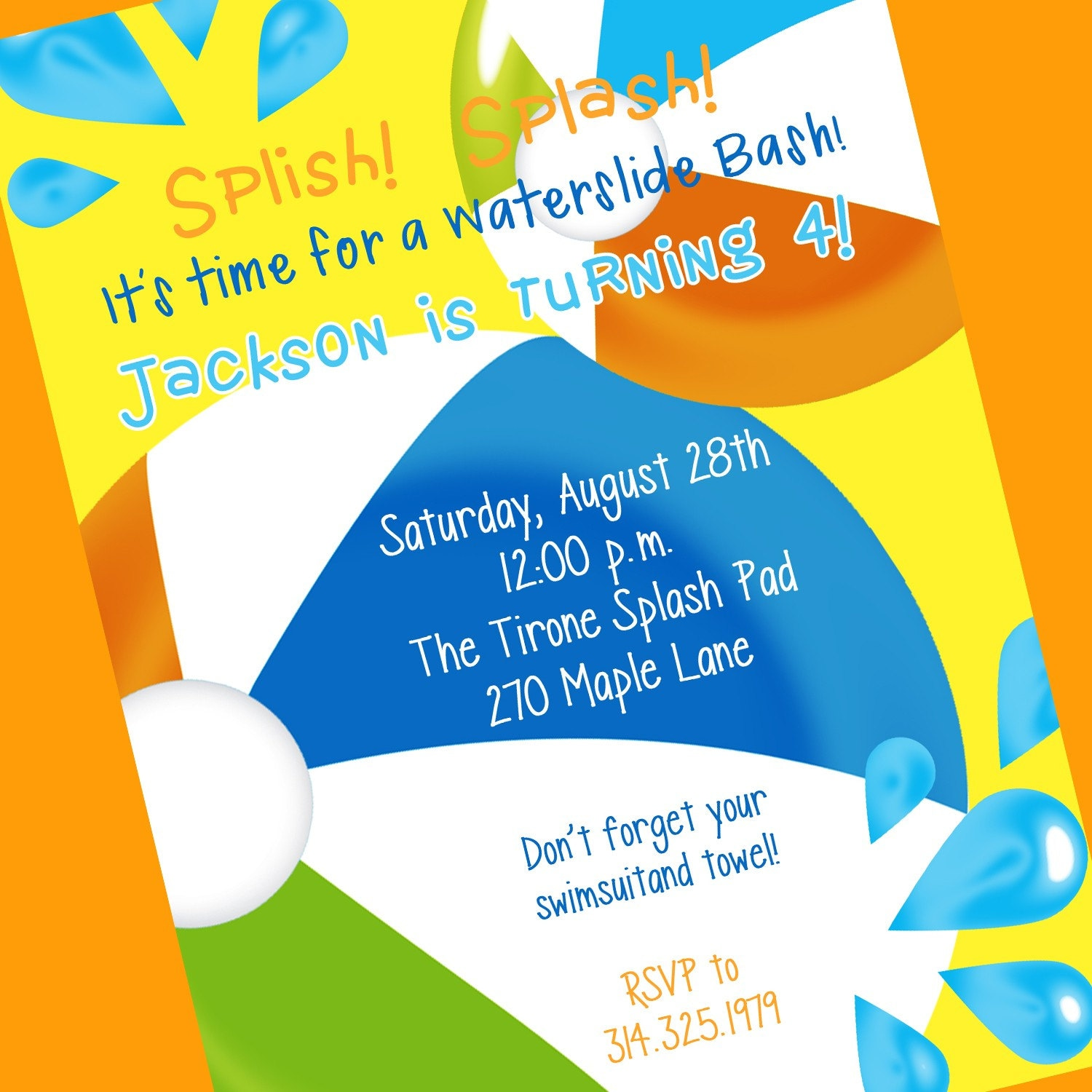 Swimming Party Invitation Printable Invitation By