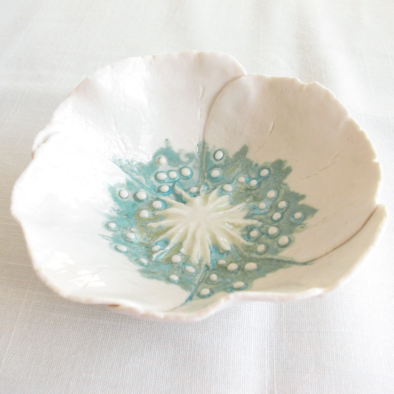 Handmade to order white porcelain poppy bowl with aqua and lime ceramic glazes - VanillaKiln