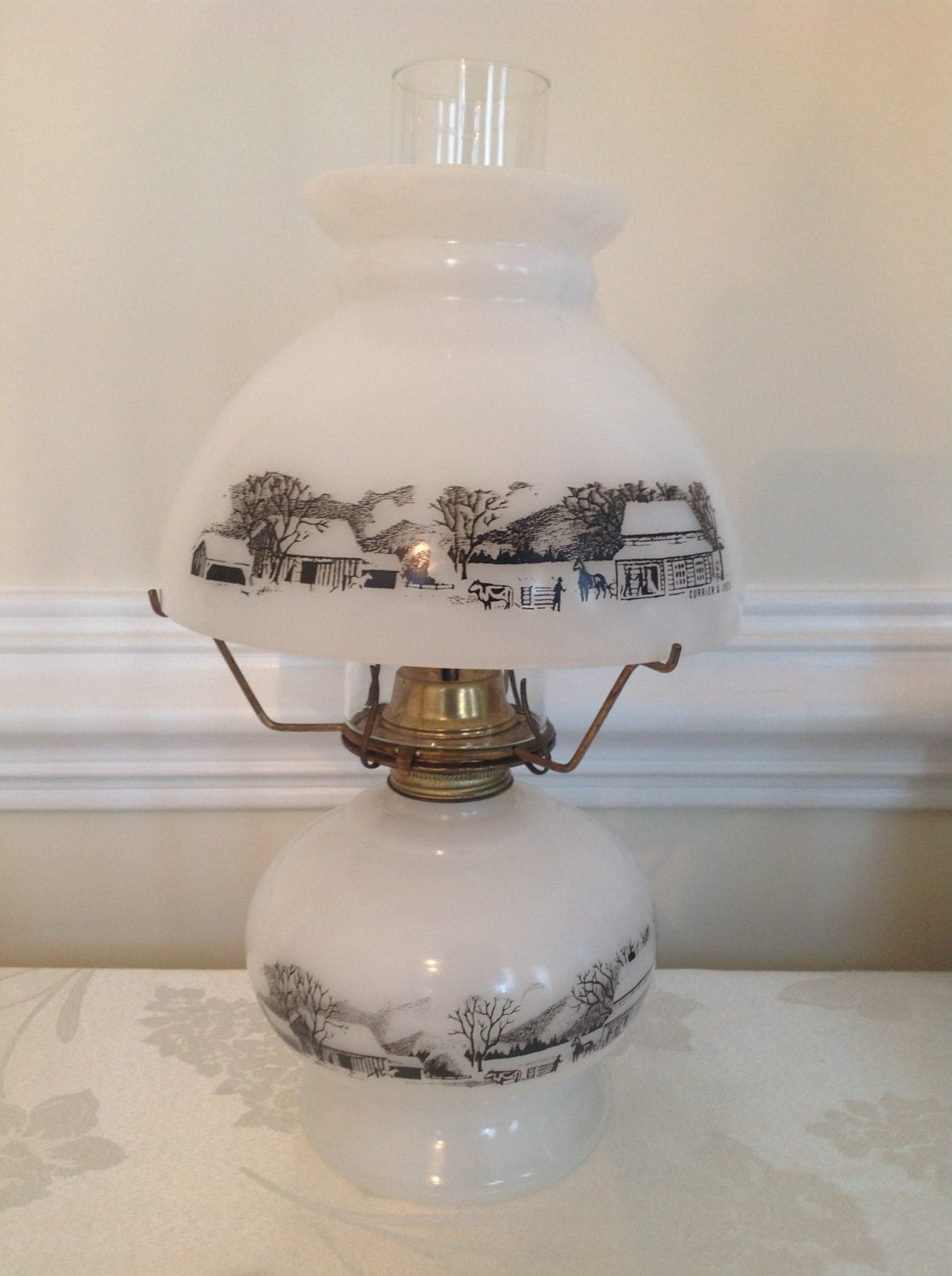 Currier And Ives Oil Lamp With Shade By Sylliestore On Etsy