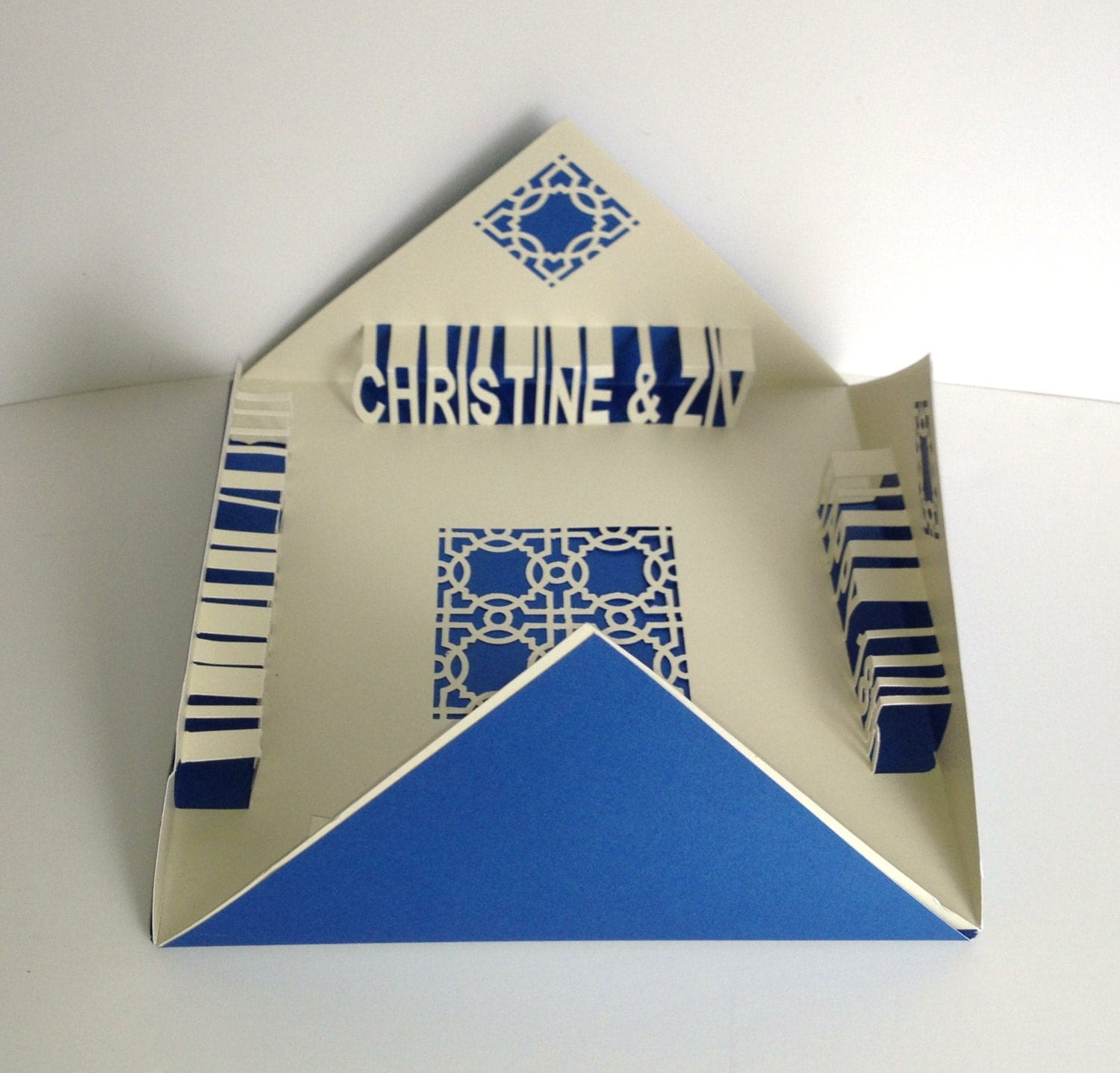 HAPPY 18th ANNIVERSARY 3D Pop Up Greeting Card In Metallic Blue & Off White Folds in all Four Corners Handmade CUSToM ORDeR Home Décor OOAK - BoldFolds