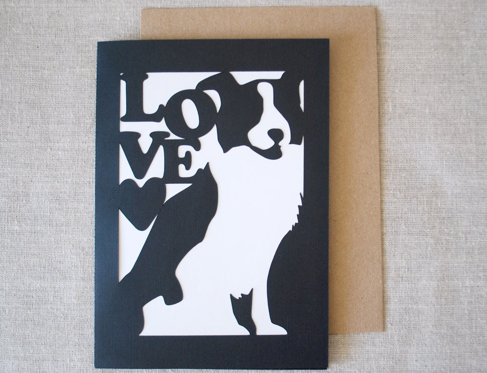 Border Collie Love Greeting Card - BluefinWorks
