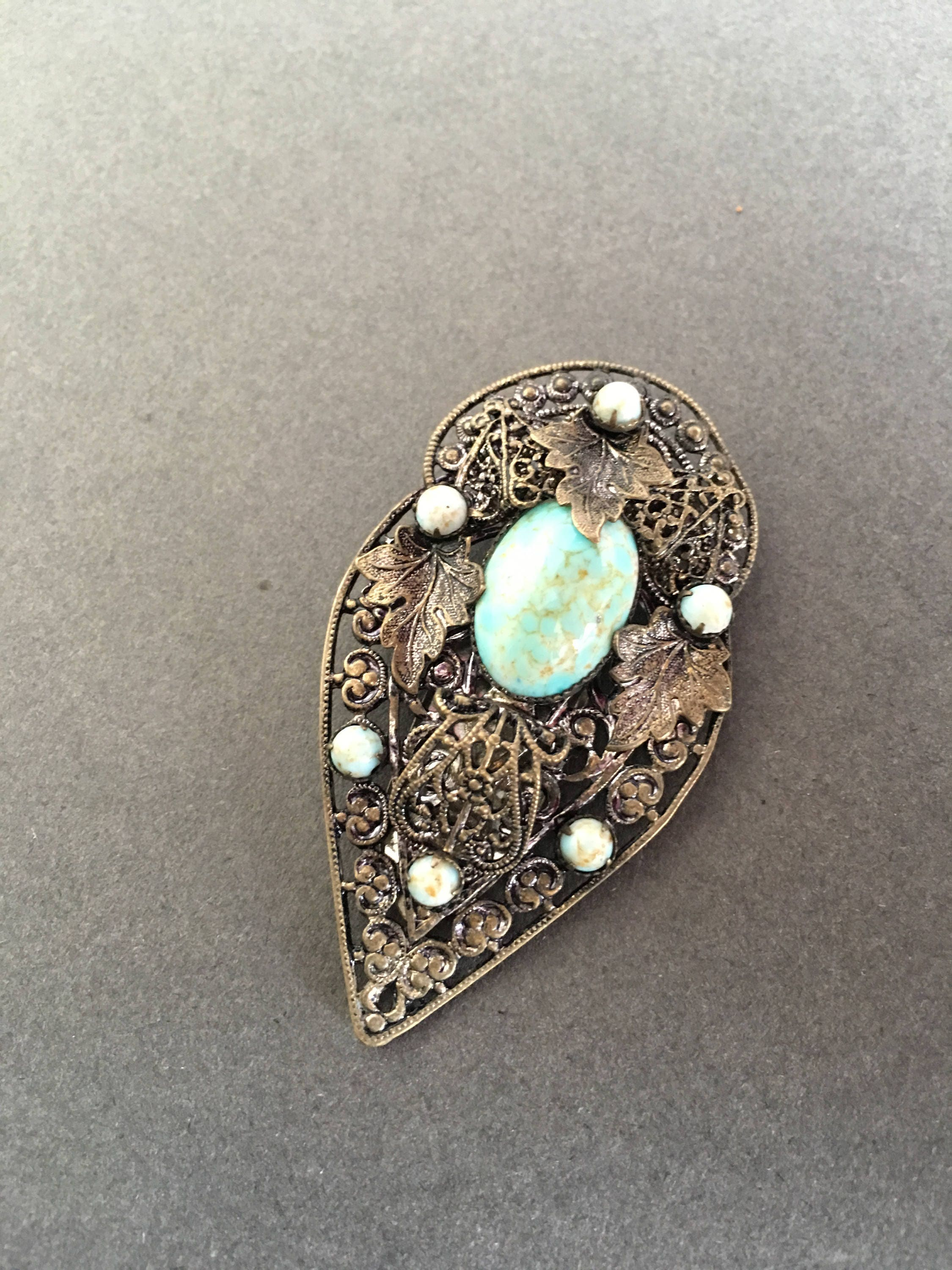 Art Deco Vintage Dress Clip Turquoise Glass Beads with Filigree Silver Metal Alloy