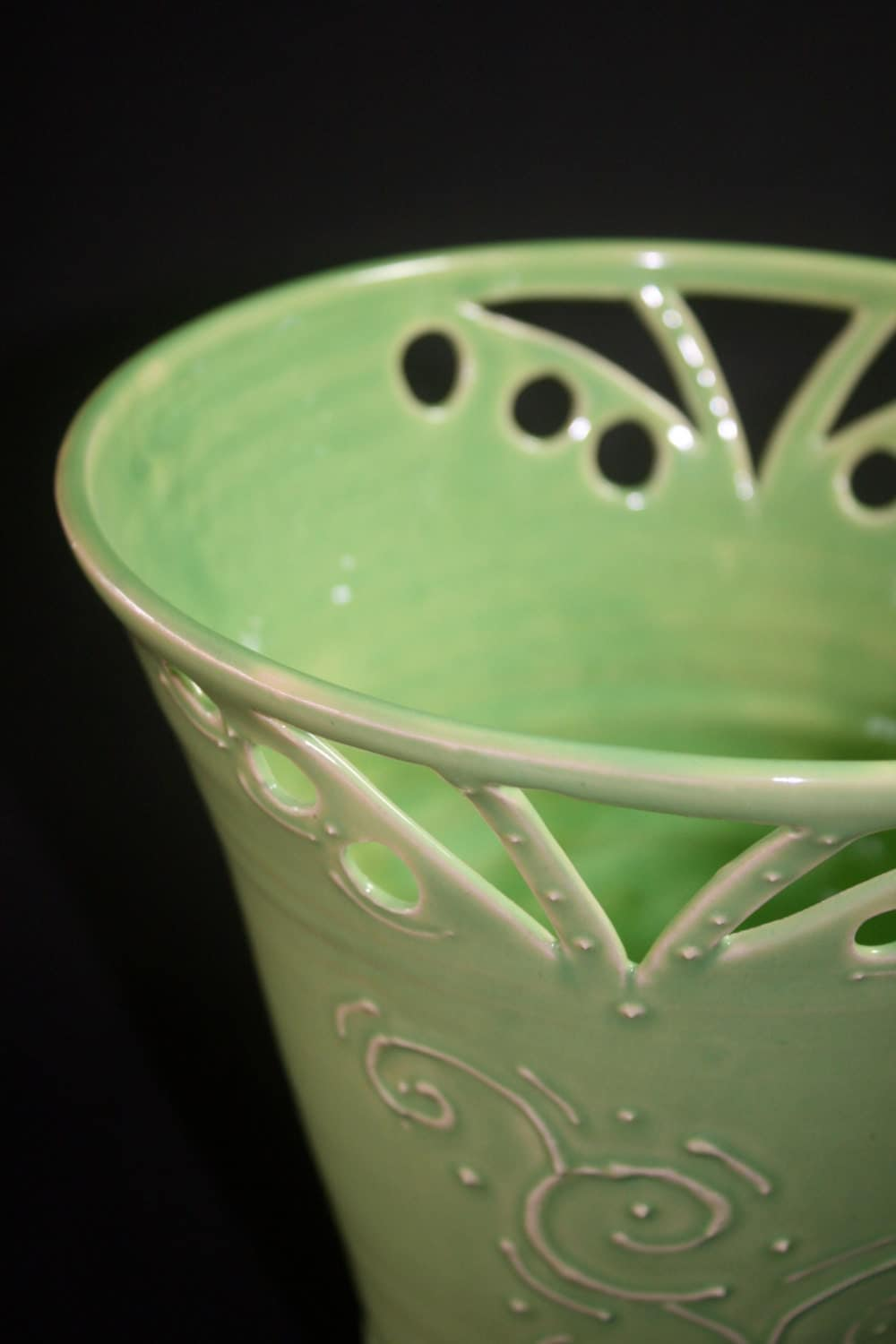 Spring Green vase with slip trailing and cut designs - DavidsWheel