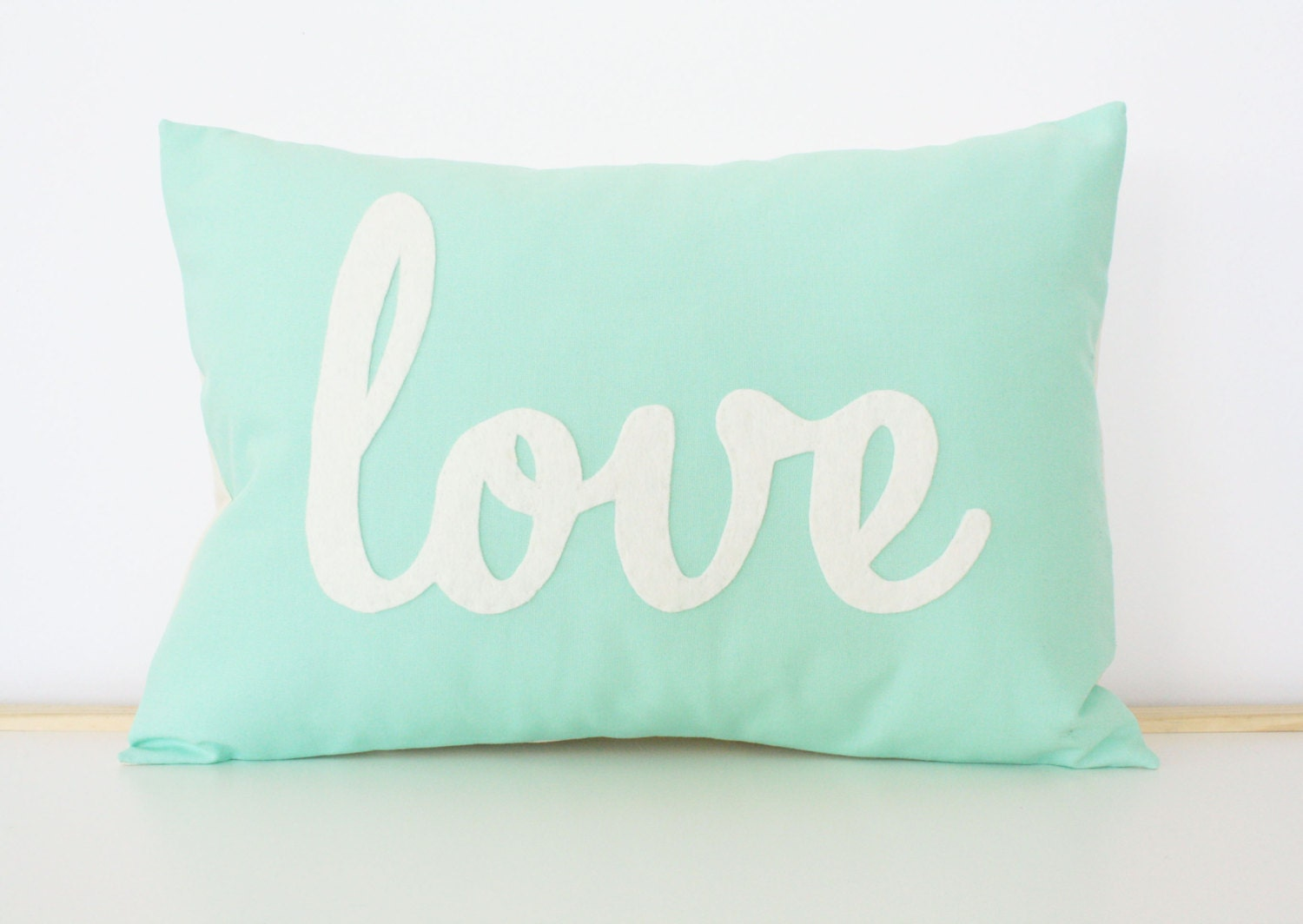 Light Teal Love Pillow - HoneyPieDesign