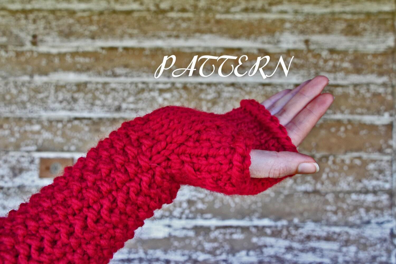 Chunky Knit Fingerless Gloves Pattern : diy PDF PATTERN Long Fingerless Gloves Knitting by bromefields
