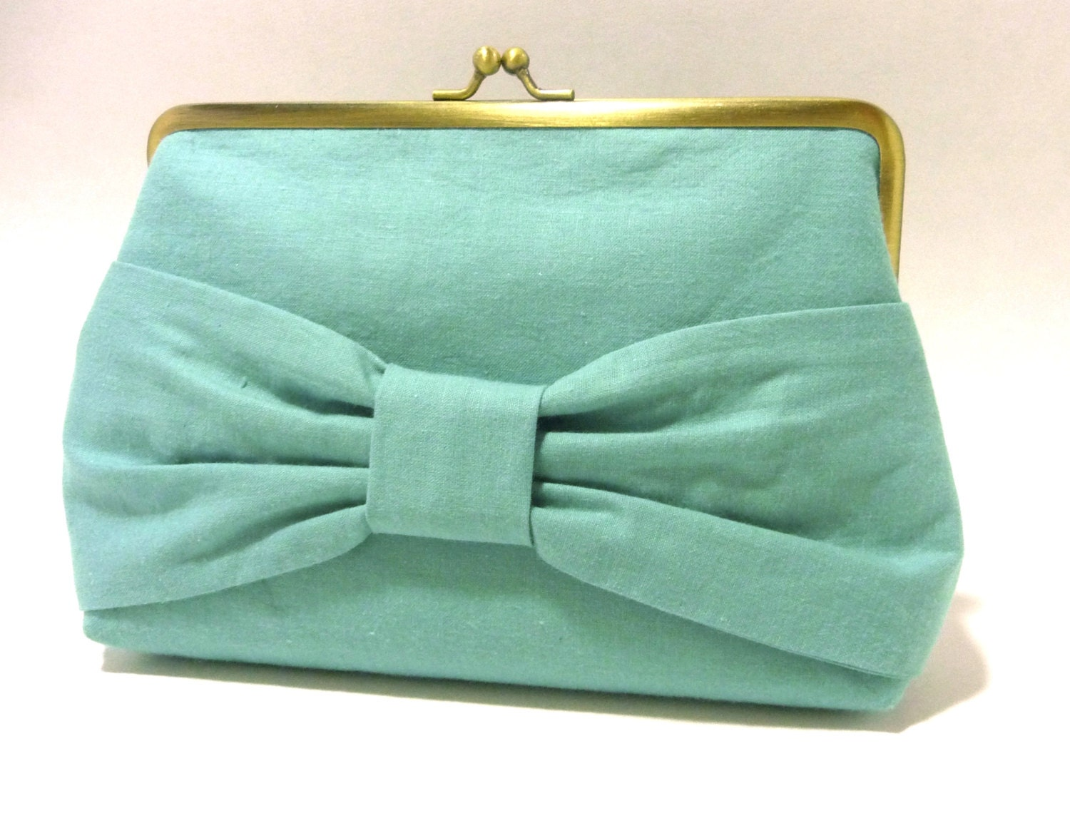 Mint Bow Clutch, Seafoam Green Purse, Handbag, Seven Inch Frame - HighCountryBride