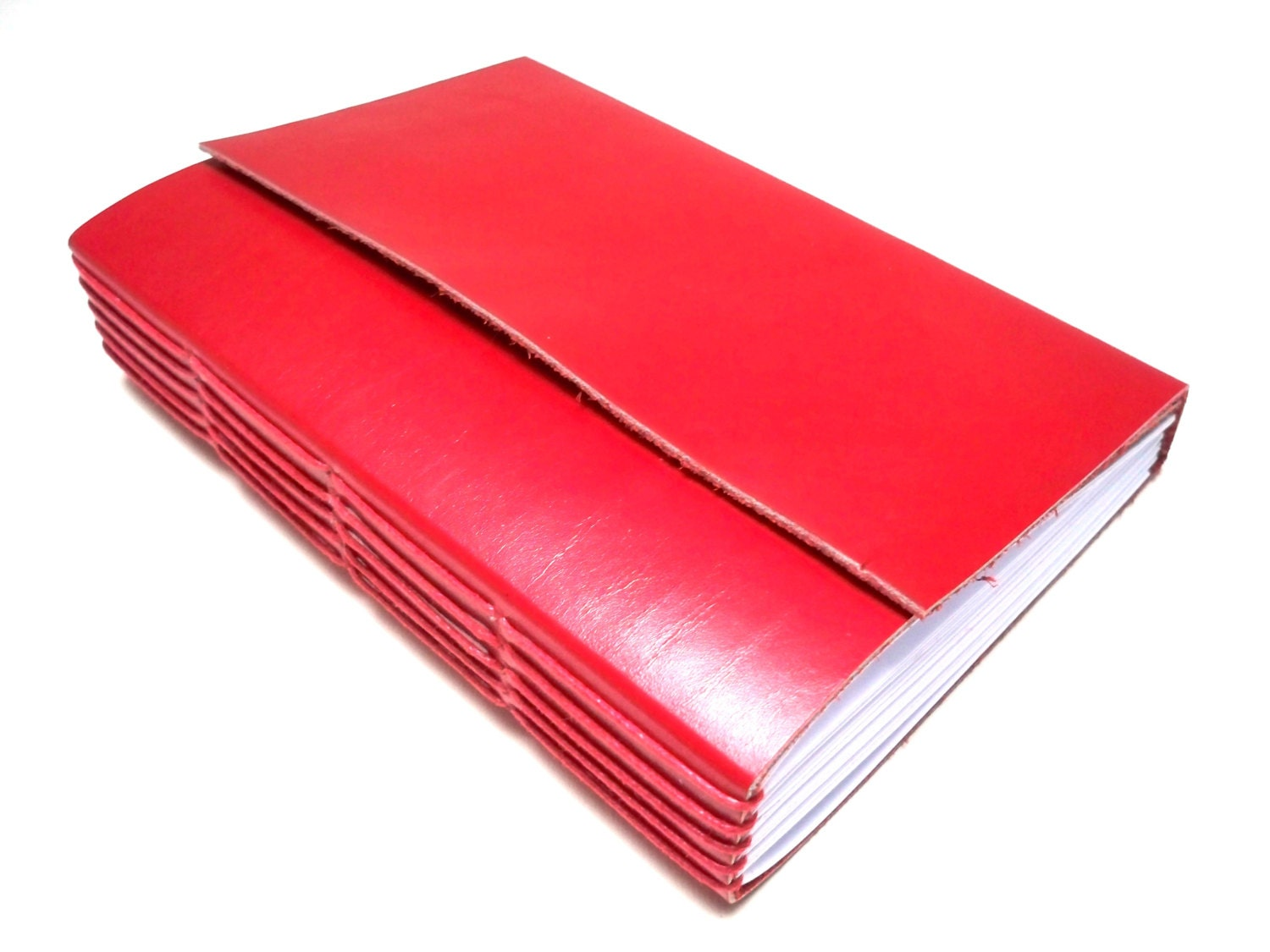 Soft Leather Journal, red leather, blank pages - RilegatoaMano