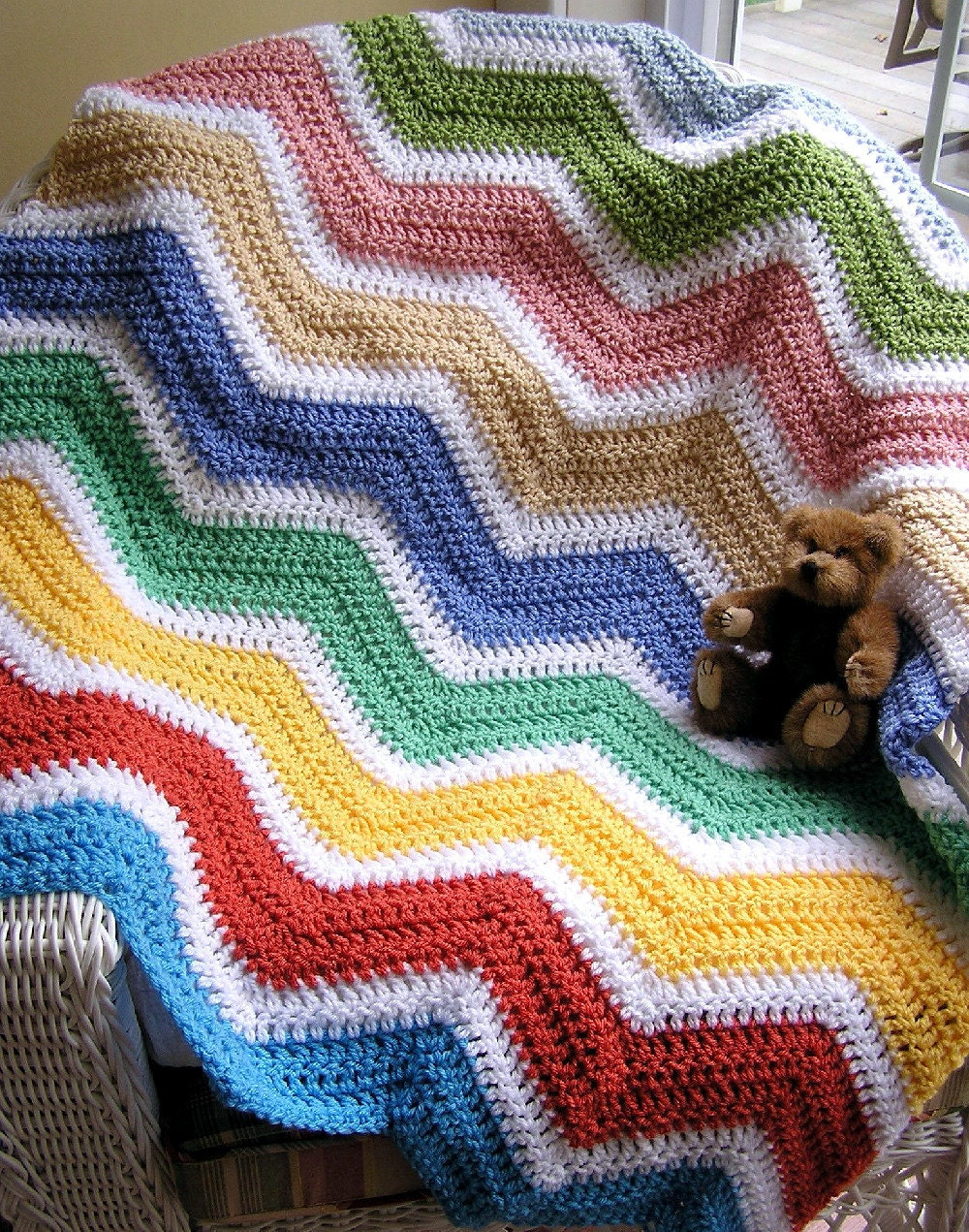 Baby Knitting Free Patterns : chevron zig zag baby blanket afghan wrap by JDCrochetCreations