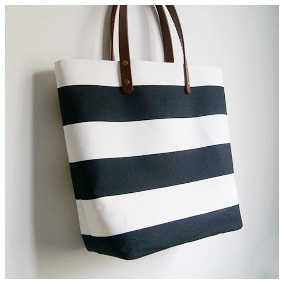 Black And White Bold Striped Tote Bag With Leather By