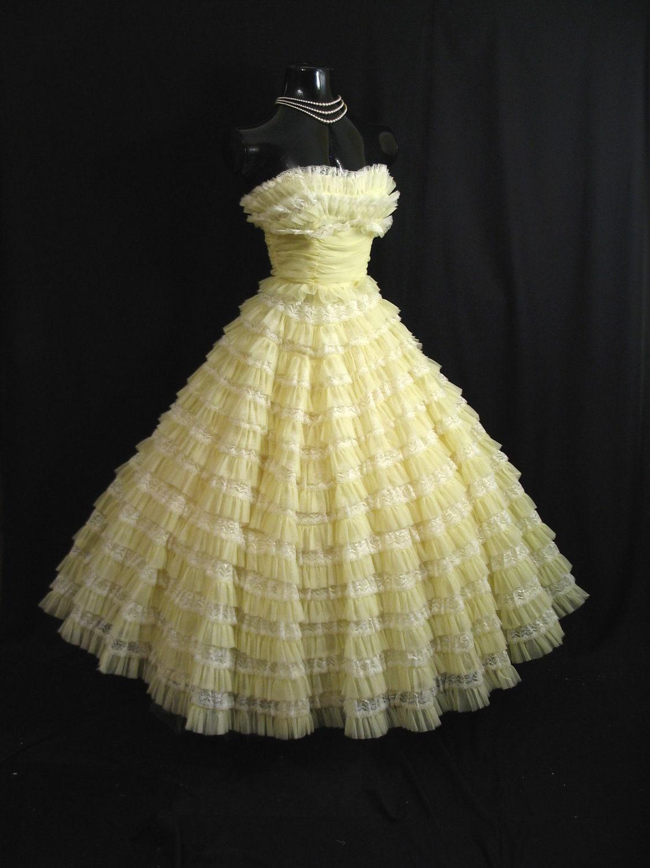 Lemon yellow chiffon organza lace tiered party prom wedding dress